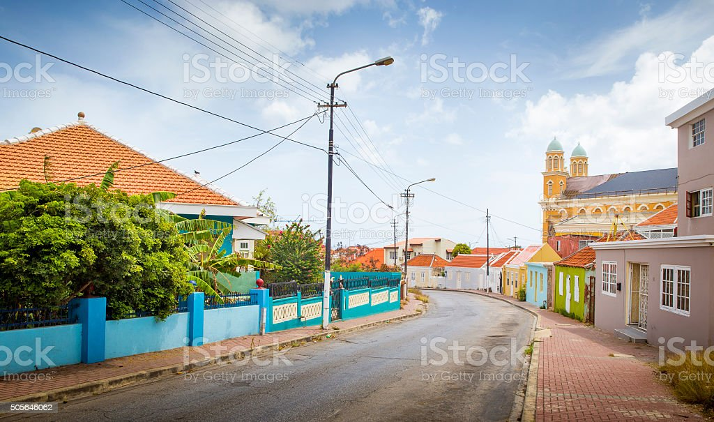 Street full of colorful houses in Willemstad, Curacao stock photo