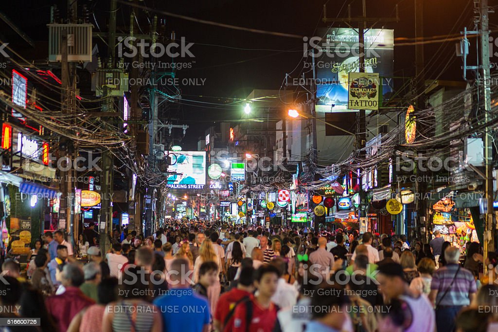 Street full of people celebrating Loi Krathong festival stock photo