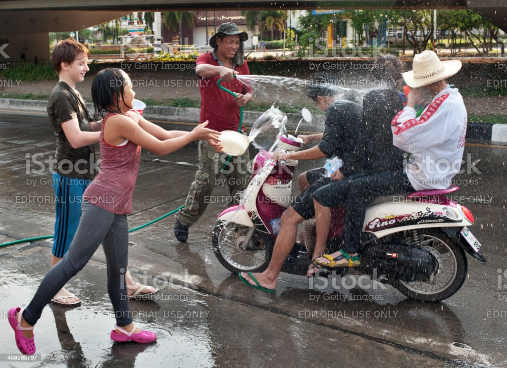Street Fun At Songkran royalty-free stock photo