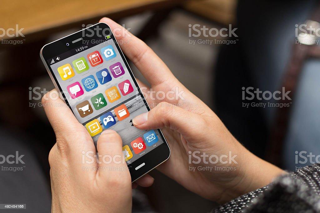 street girl smartphone stock photo