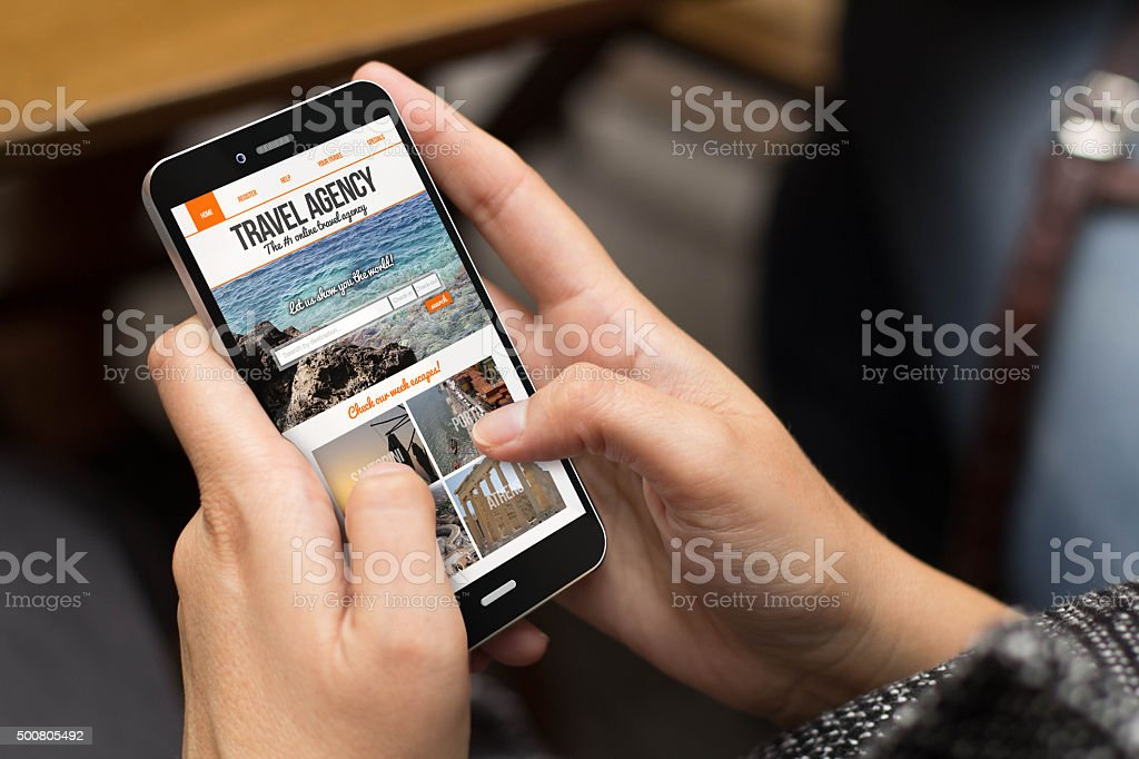 street girl travel agency website on screen stock photo