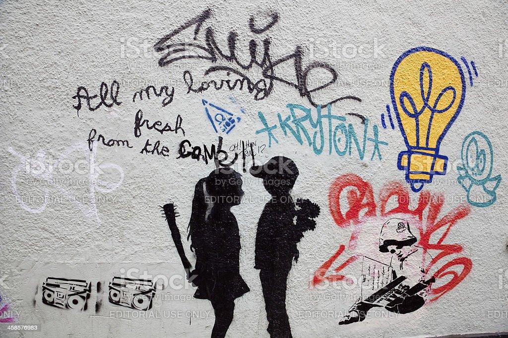 Street graffiti in central Bristol stock photo