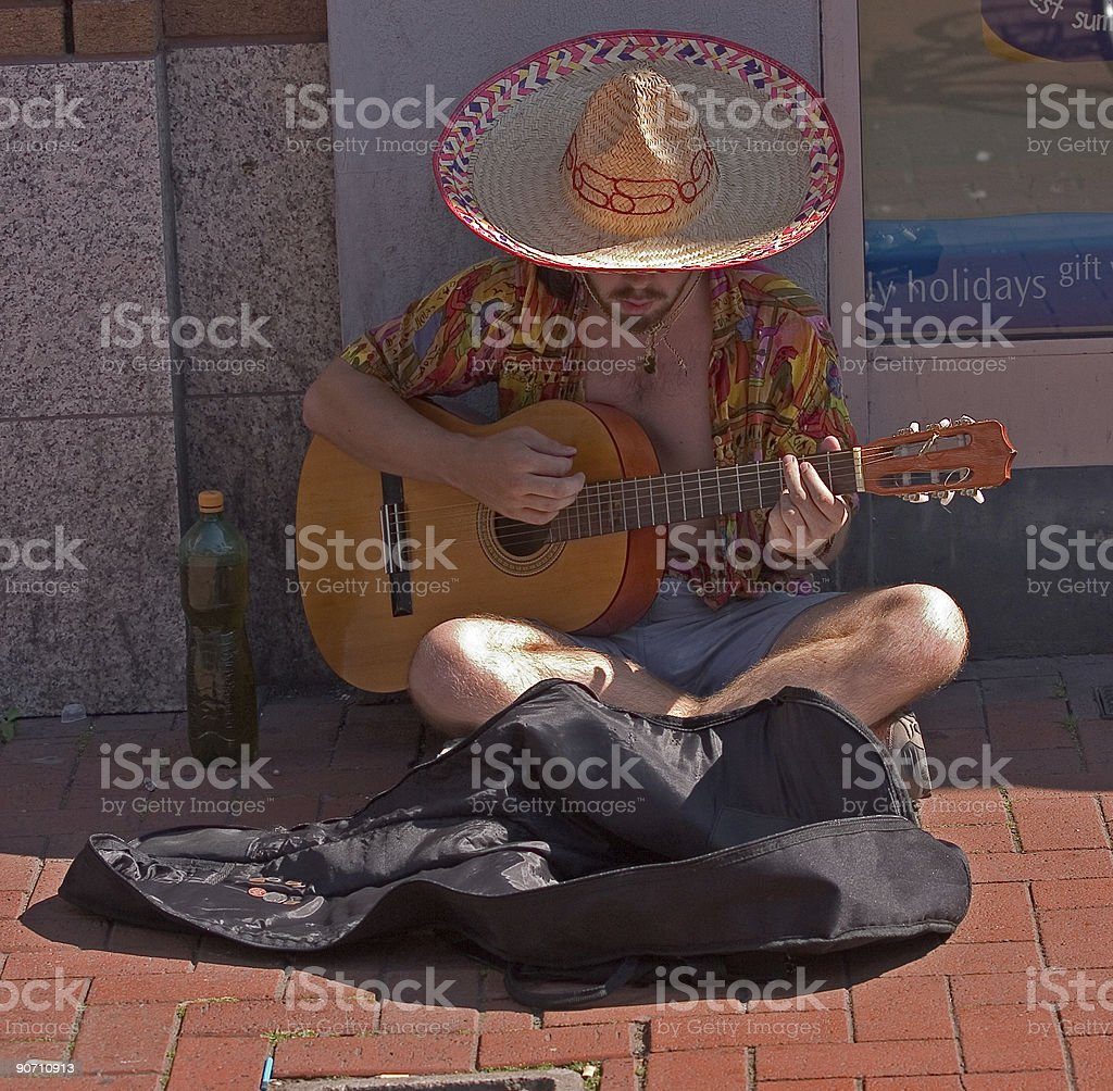 Street guitar entertainer royalty-free stock photo
