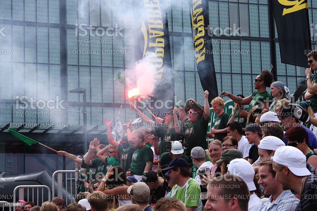 Street hockey fans, Helsinki royalty-free stock photo