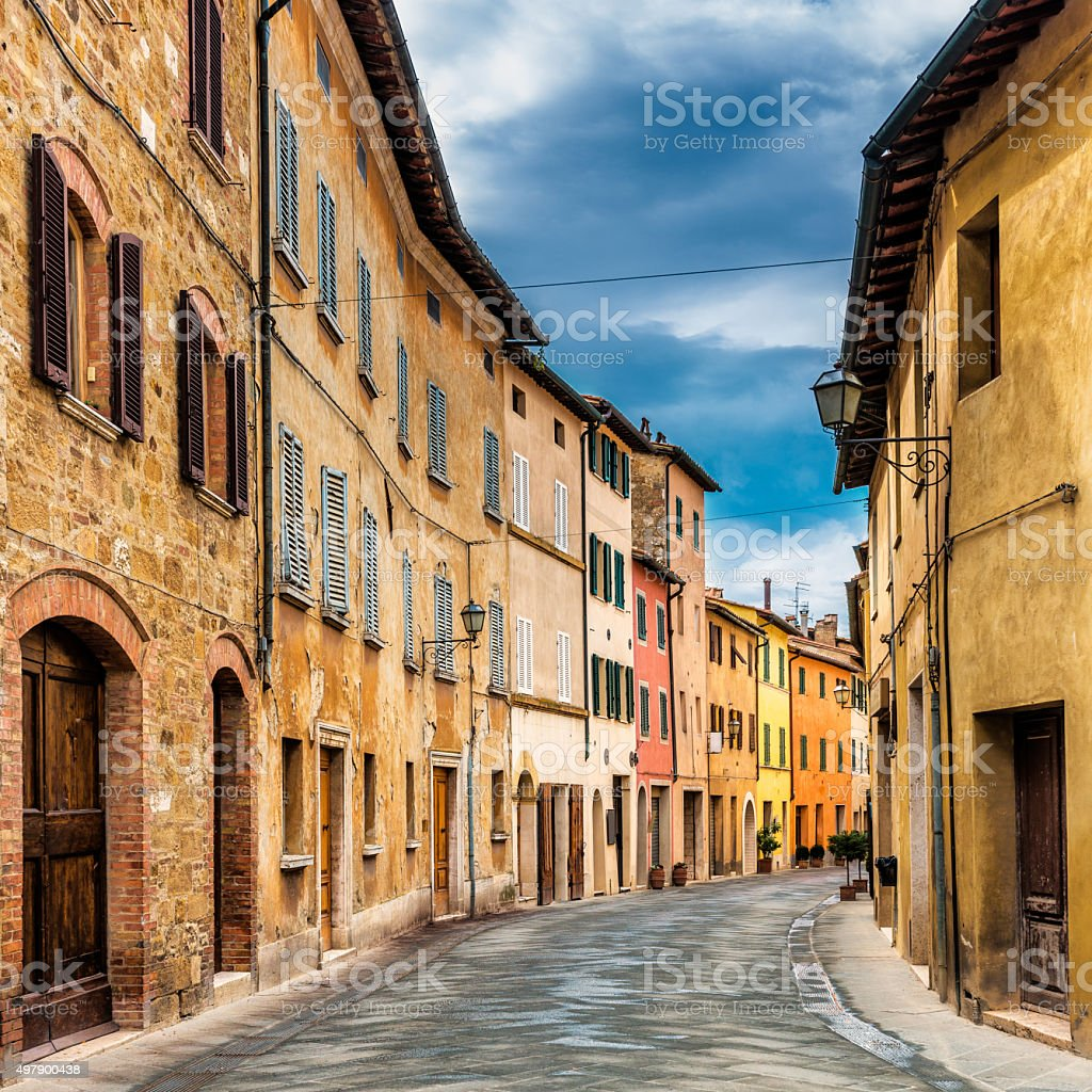 Street in a tuscan village stock photo