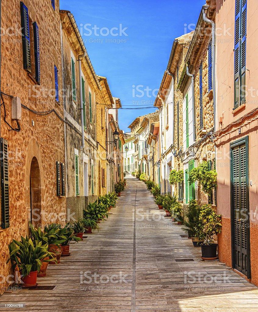 Street in Alcudia (Mallorca) stock photo