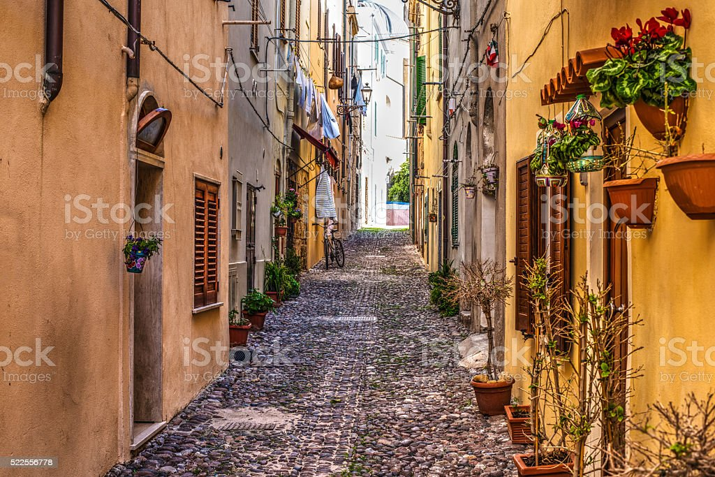 street in Alghero old town stock photo