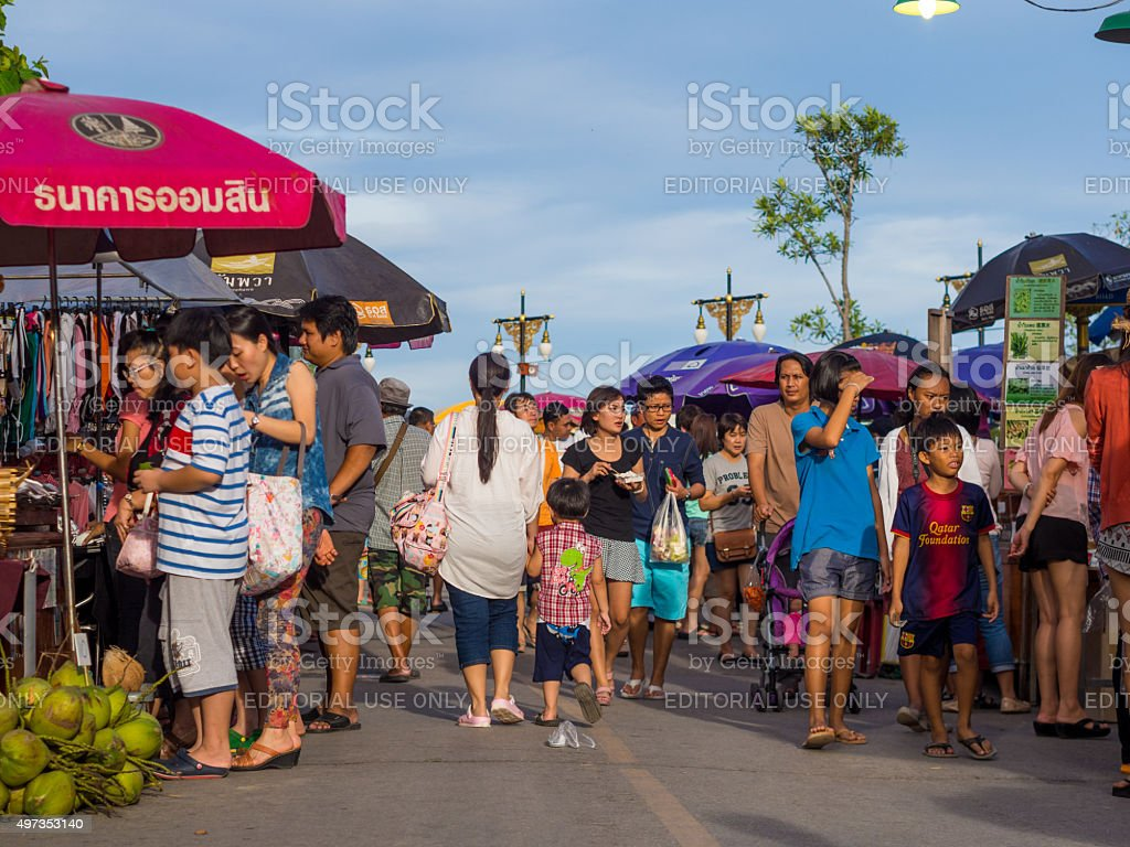Street in Amphawa district in Samut Songkhram, Thailand stock photo