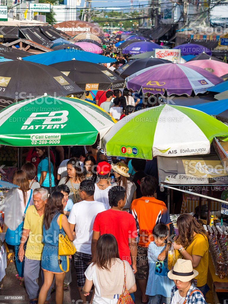 Street in Amphawa Floating Market in Samut Songkhram, Thailand stock photo