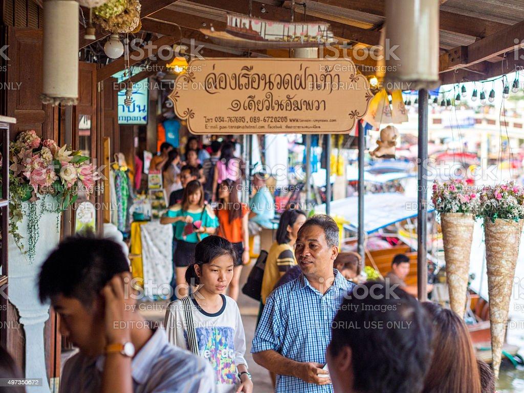Street in Amphawa Floating Market, Samut Songkhram, Thailand stock photo