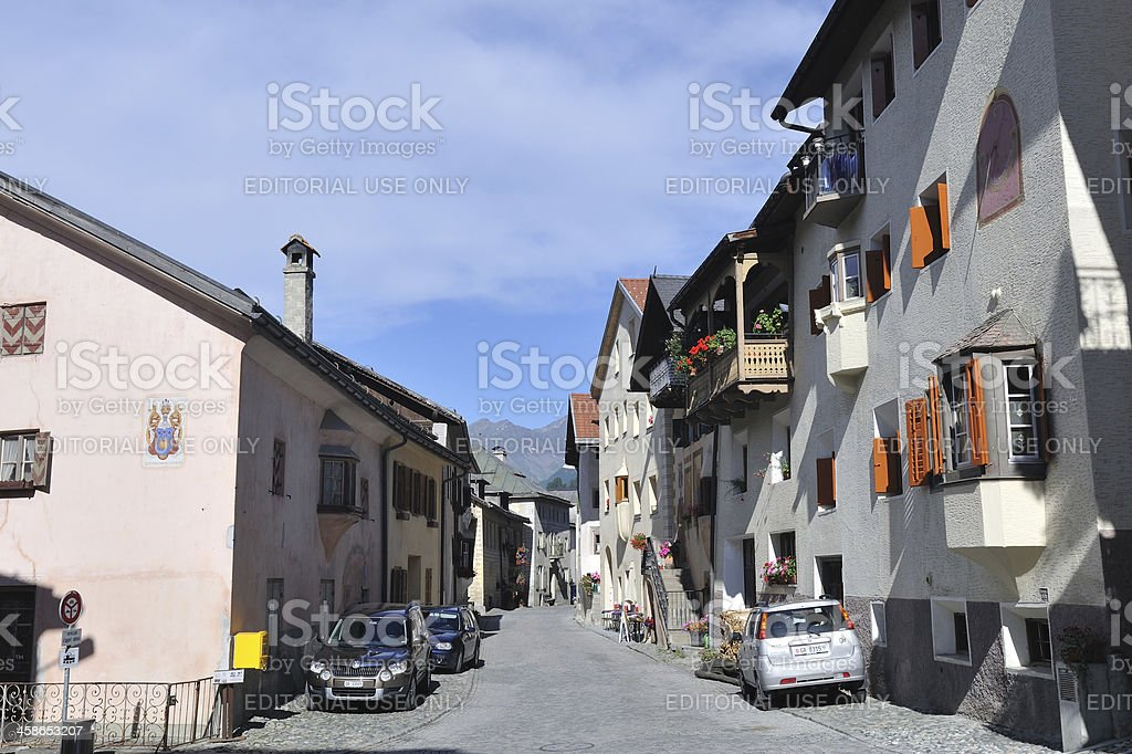 Street in Ardez royalty-free stock photo