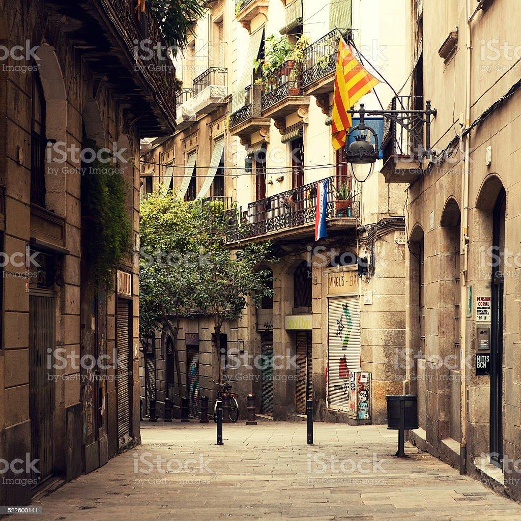 Street in Barcelona. stock photo