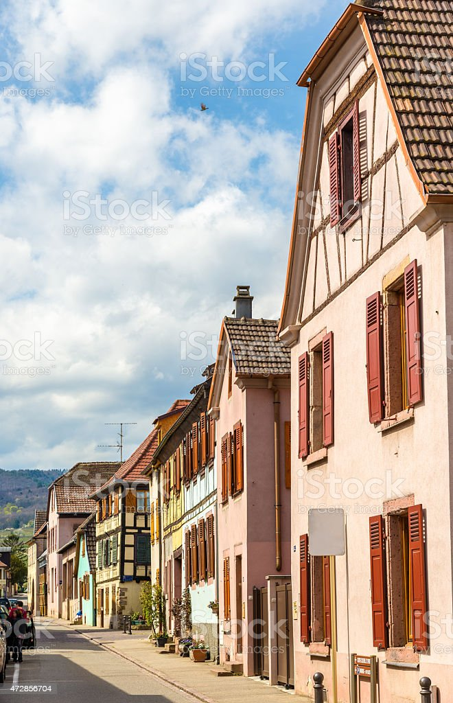 Street in Bergheim village - Alsace, France stock photo