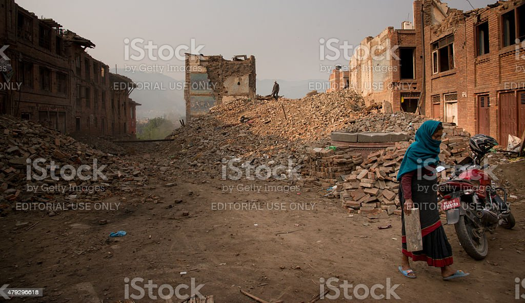 Street in Bhaktapur is completely flattened in Nepal earthquake. stock photo