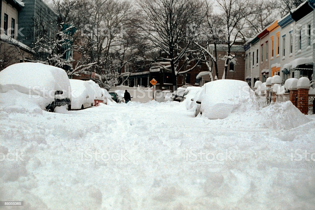 Street in Brooklyn covered in deep snow stock photo