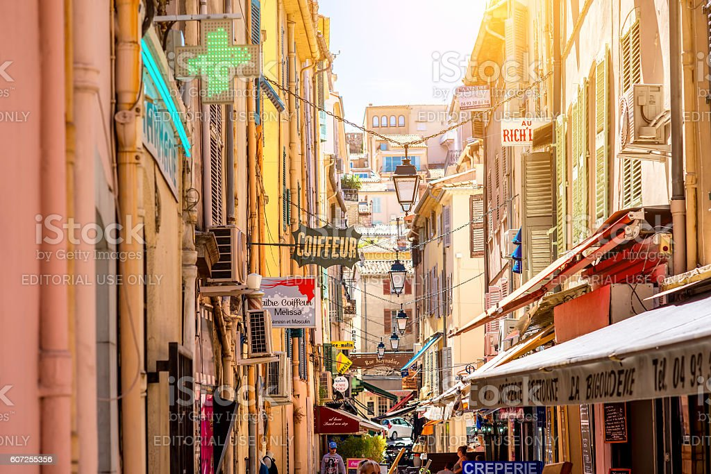 Street in Cannes stock photo