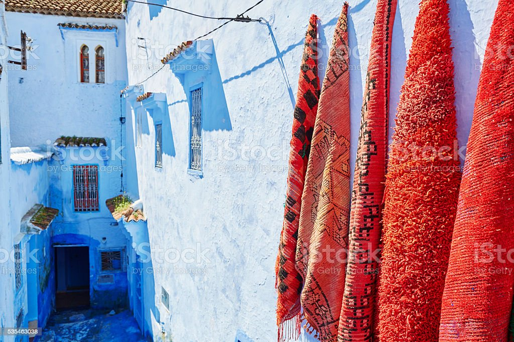 Street in Chefchaouen, Morocco stock photo