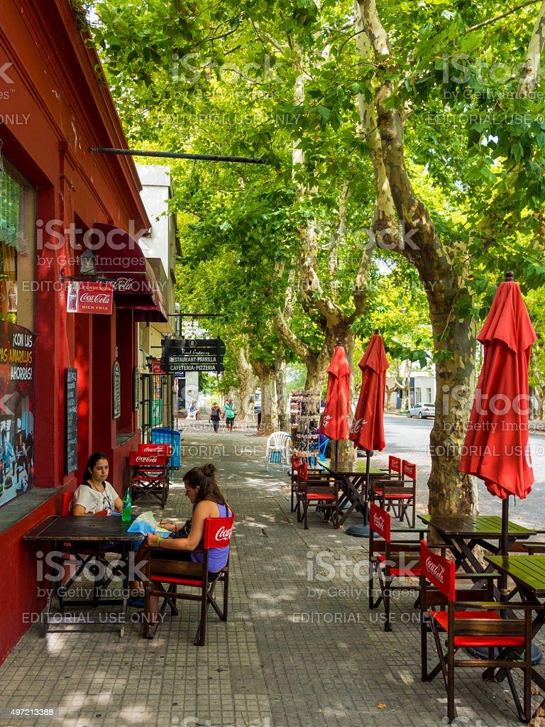 Street in Colonia del Sacramento, Uruguay stock photo