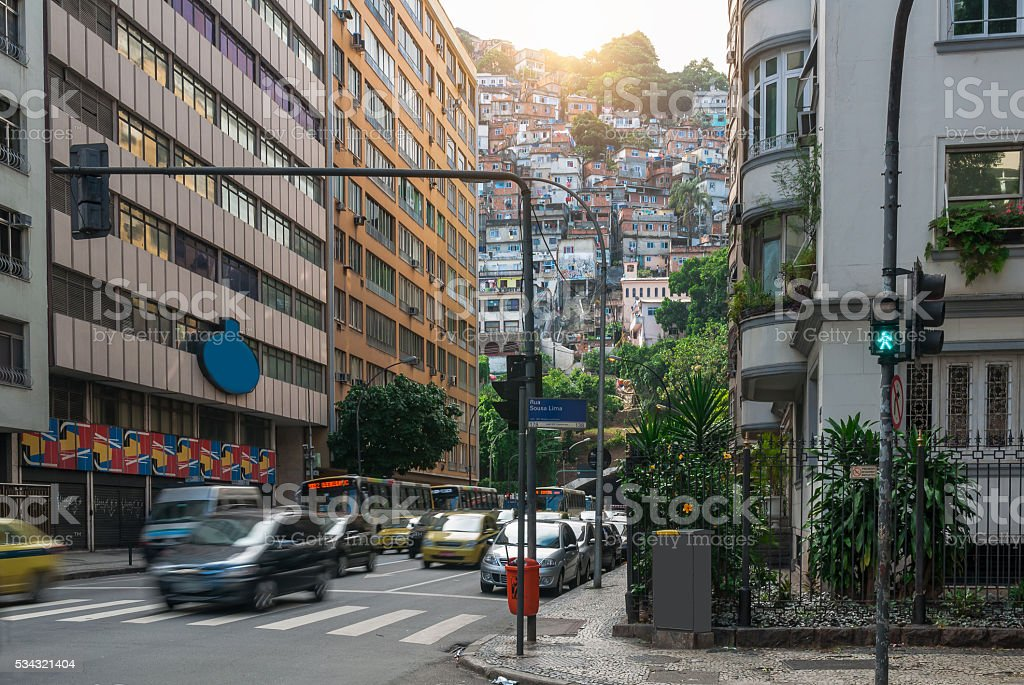 Street in Copacabana and favela in Rio de Janeiro stock photo