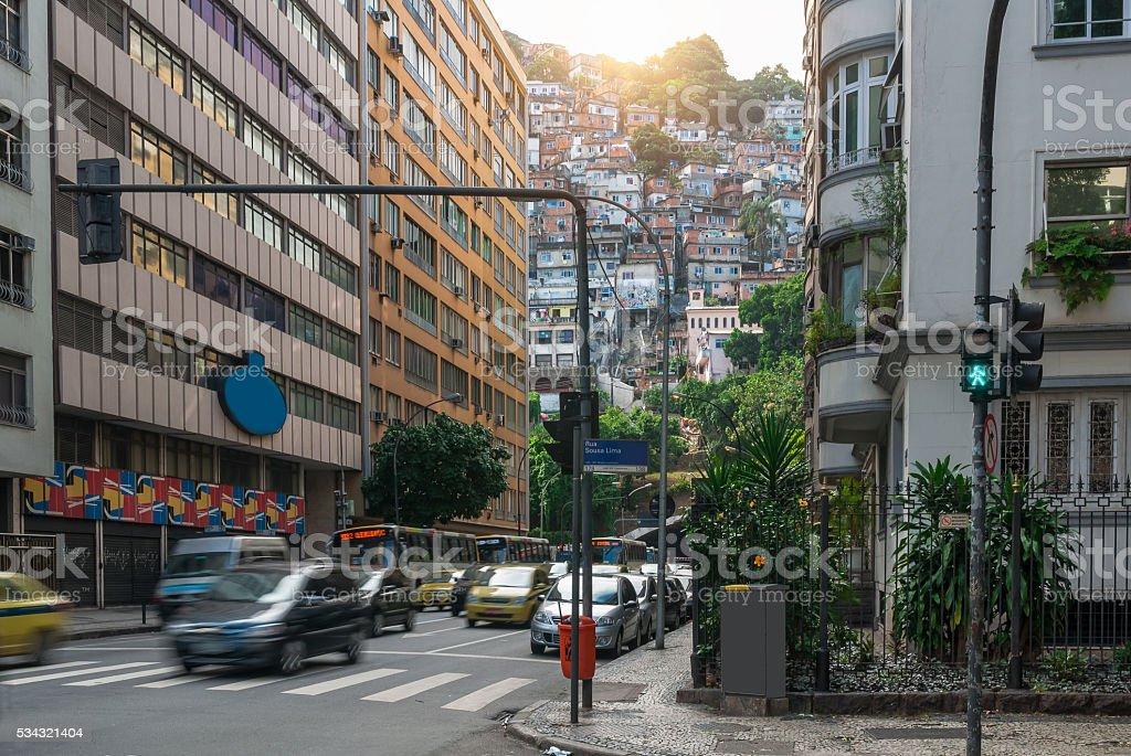 Street in Copacabana and favela in Rio de Janeiro stock photo