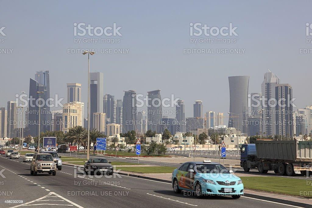 Street in Doha, Qatar stock photo