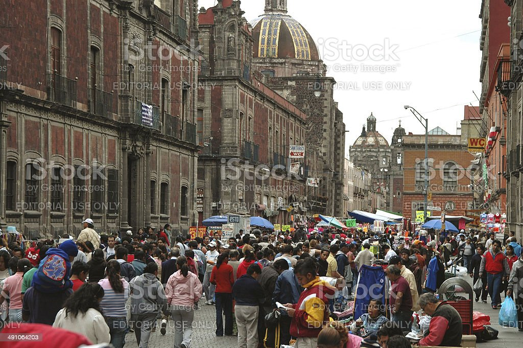 Street in downtown Mexico City stock photo