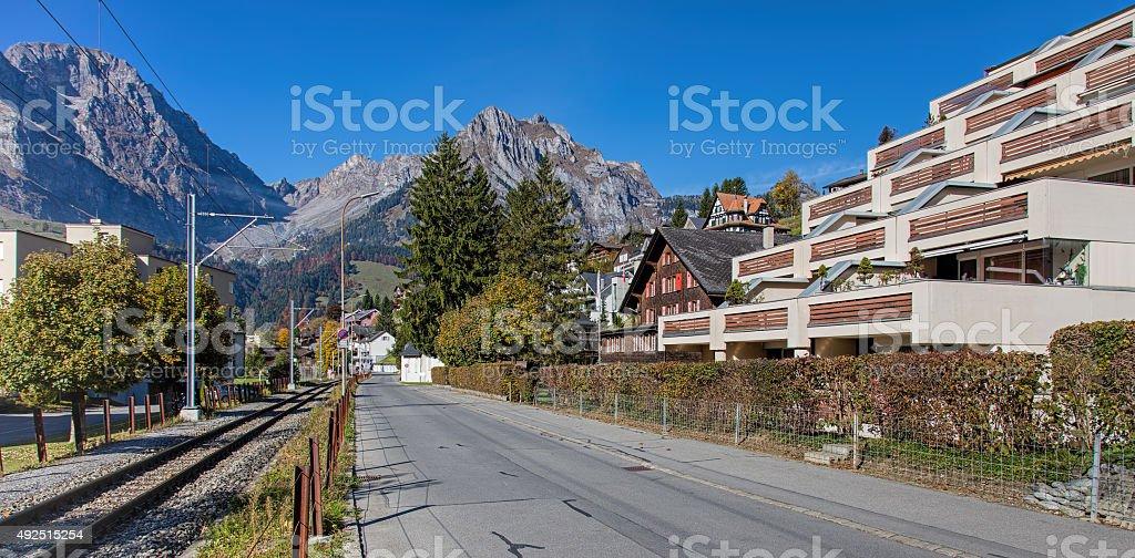 Street in Engelberg stock photo