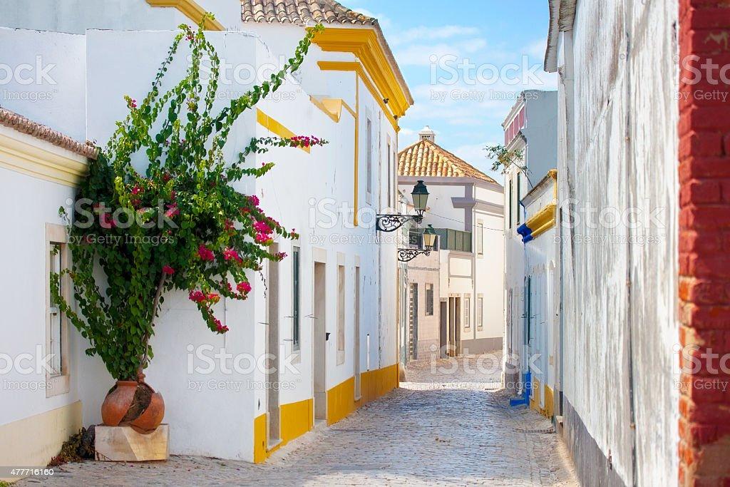 Street in Faro, Portugal. stock photo