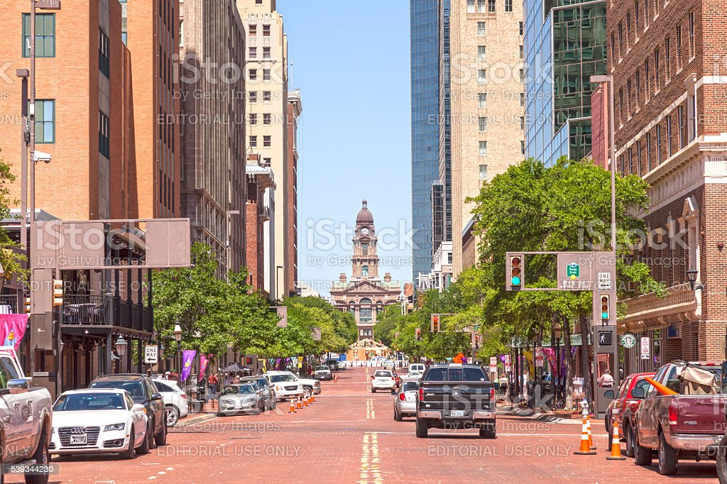 Street in Fort Worth downtown. Texas, USA stock photo