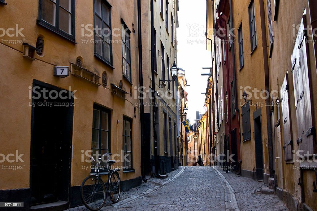 Street in Gamla stan (Old Town) Stockholm, Sweden royalty-free stock photo