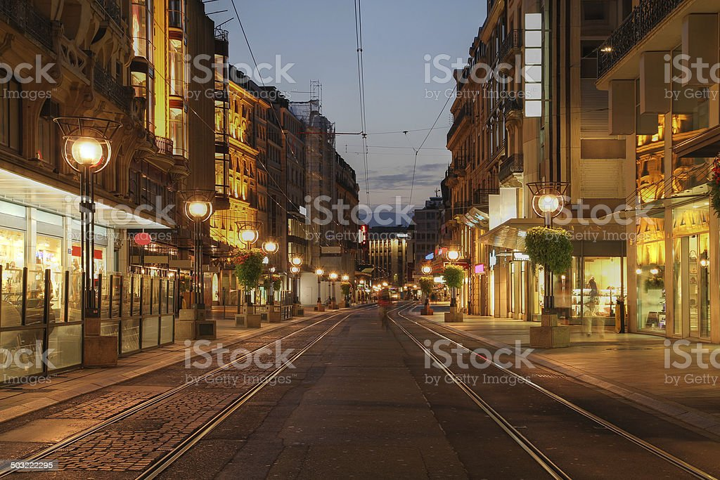 Street in Geneva, Switzerland stock photo