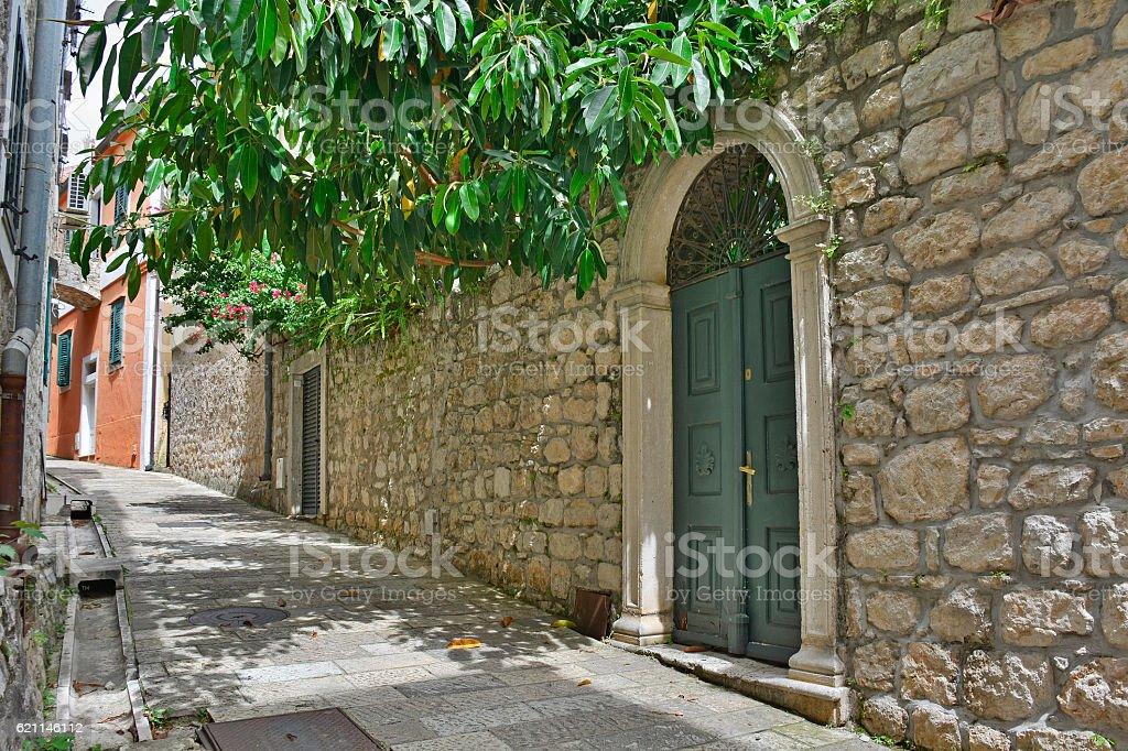 Street in Herceg Novi stock photo