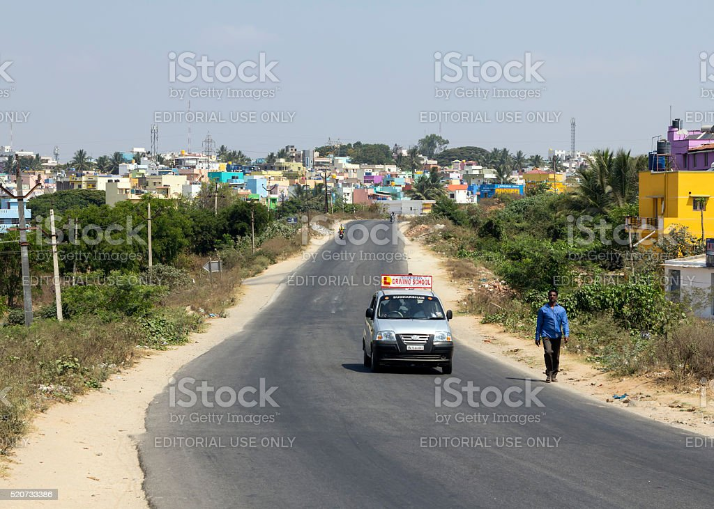 Street in Hosur, Tamil Nadu, India stock photo