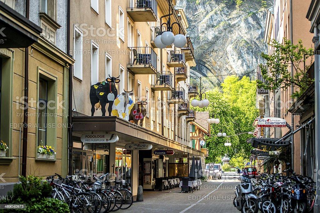 Street in Interlaken, Switzerland stock photo