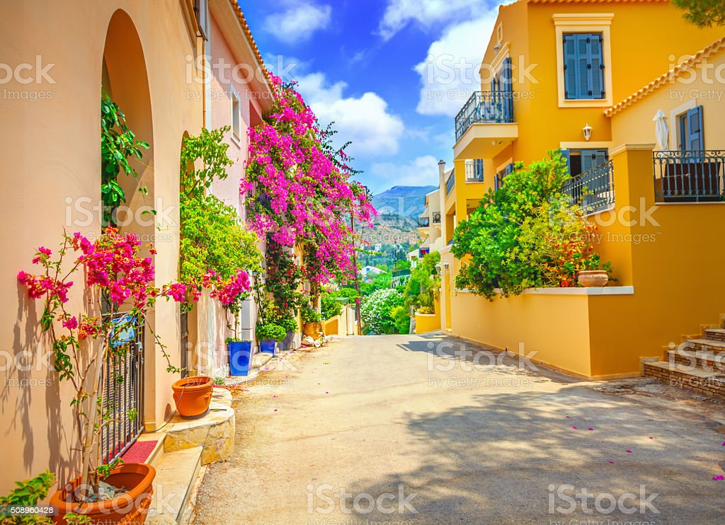 Street in Kefalonia island stock photo