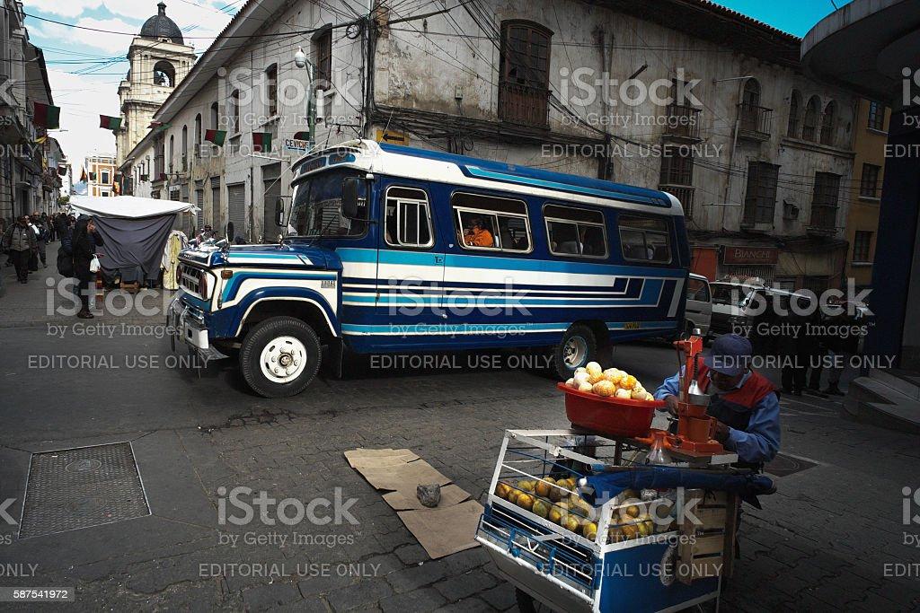 Street in La Paz stock photo