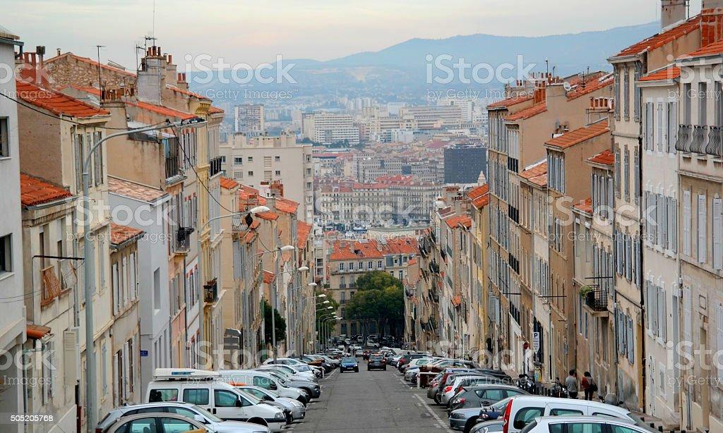 Street in Marseille auf der südlichen französischen Stadt Lizenzfreies stock-foto