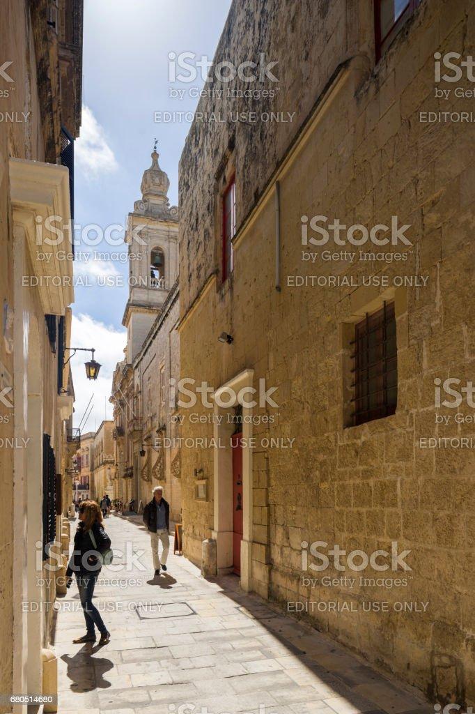 Street in Mdina, City in Malta stock photo
