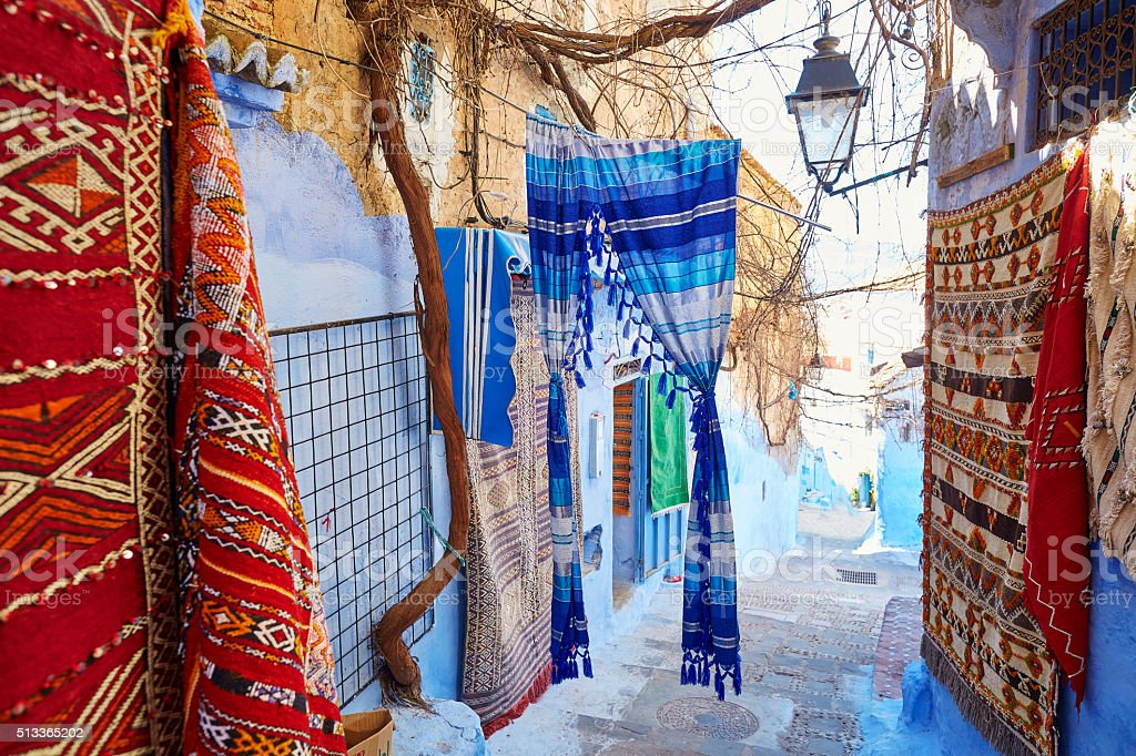 Street in Medina of Chefchaouen, Morocco stock photo