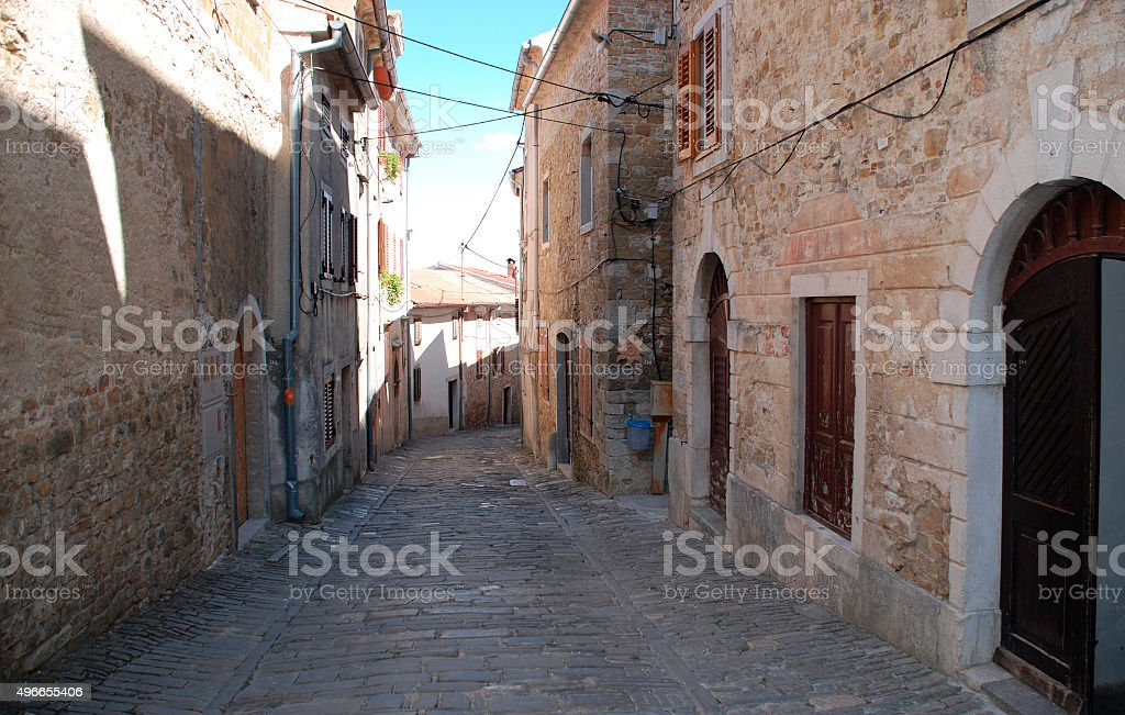 Street in Motovun stock photo