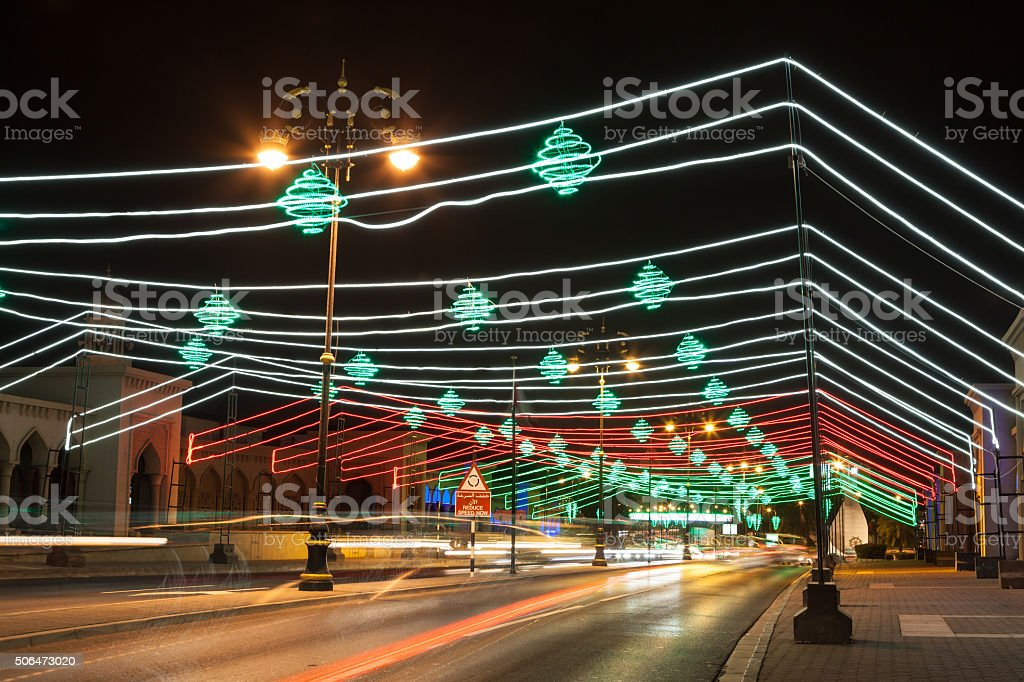 Street in Muscat decorated with lights stock photo