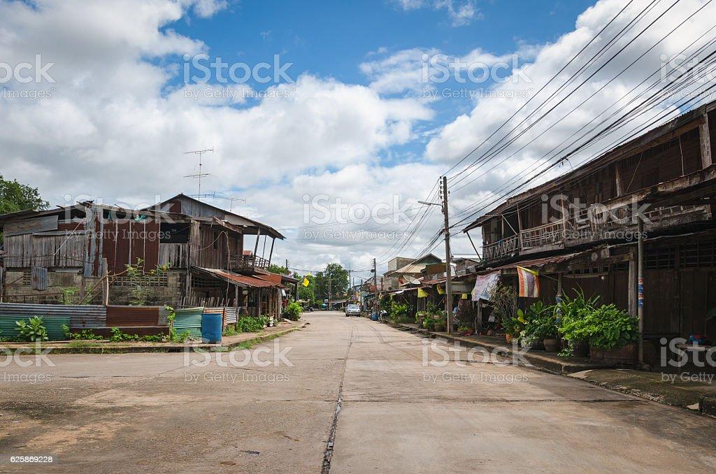 Street in Nam Tok village (Thailand) stock photo