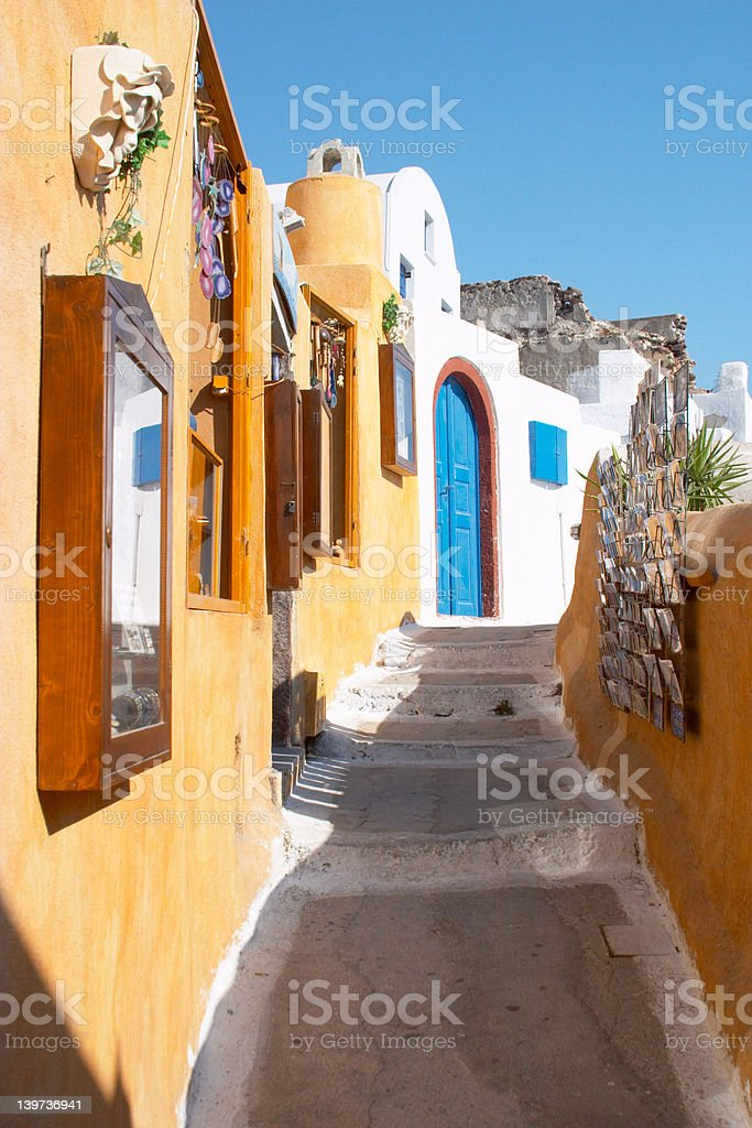 Street in Oia Santorini Greece royalty-free stock photo
