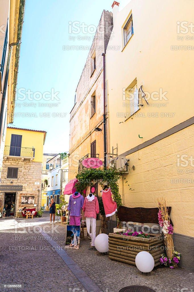 Street in Olbia, Sardinia, Italy stock photo