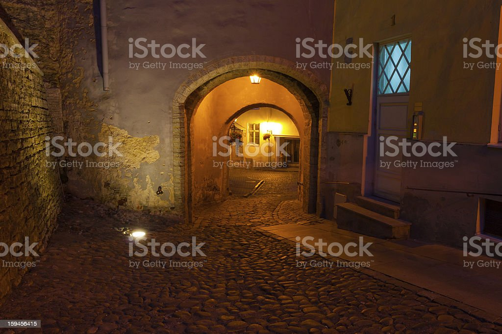 street in old Tallinn by night royalty-free stock photo