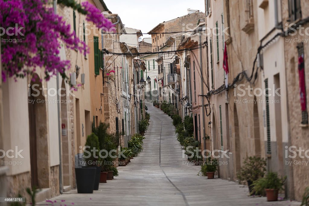 Street in old town of Alcudia . Majorca stock photo