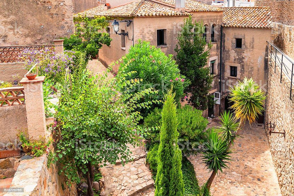 Street in old town of Tossa de Mar, Costa Brava stock photo