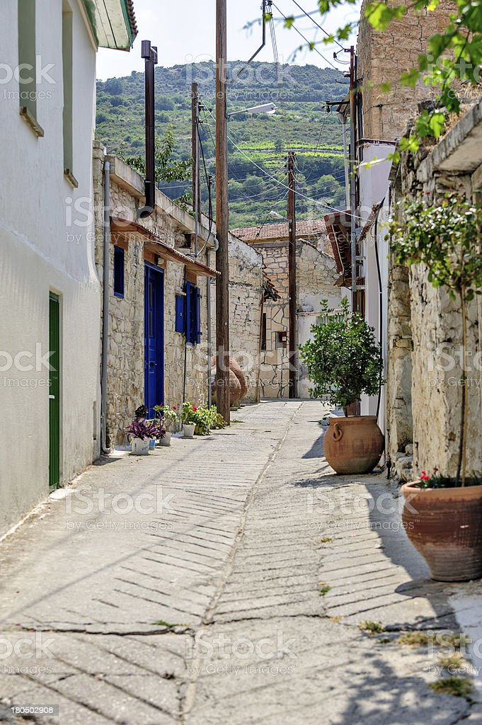 Street in old village on Cyprus royalty-free stock photo