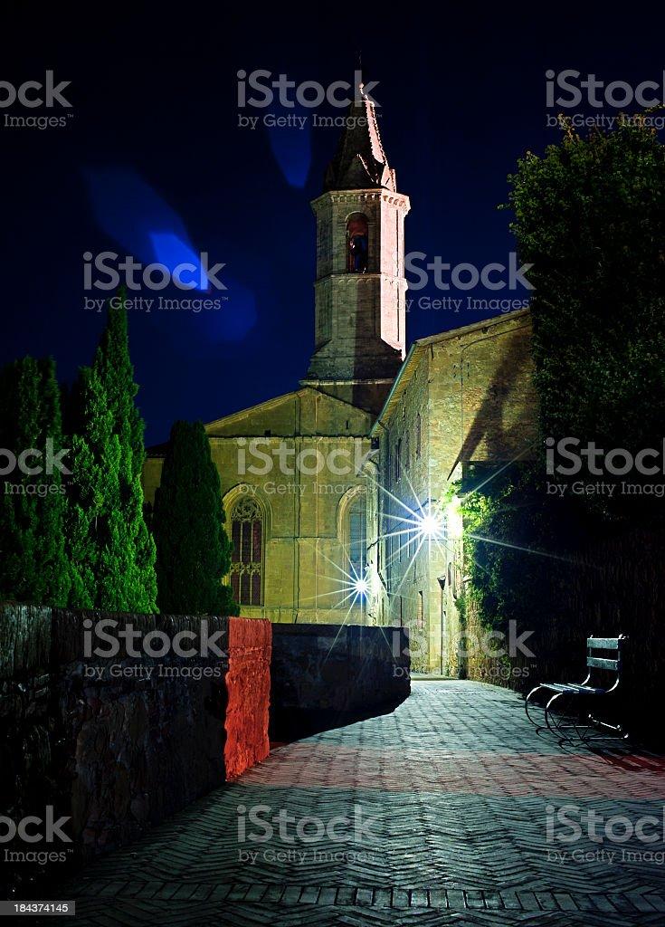 Street In Pienza By Night, Tuscany royalty-free stock photo