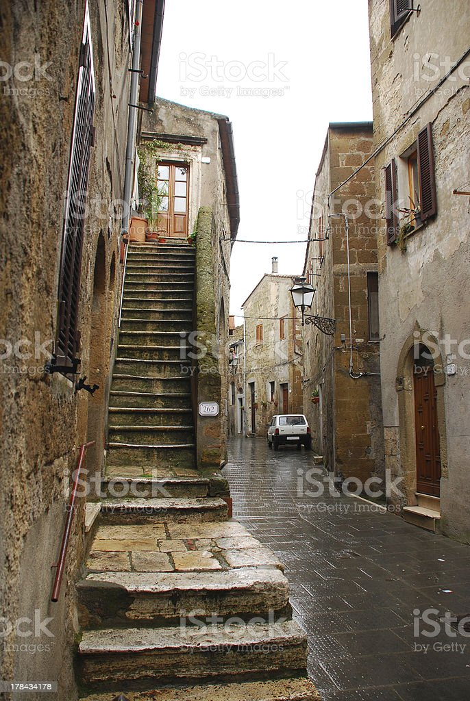 Street in Pitigliano stock photo